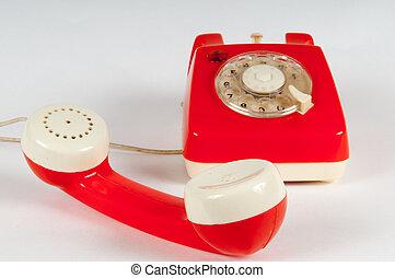 Wählscheibe, rotierend, Telefon,  retro,  orange, weißes