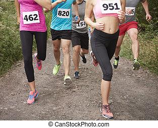 während, beine, menschliche , marathon