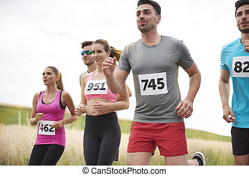 während, bewegung, freien, marathon