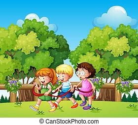 während, draußen, spielende , tageszeit, kinder