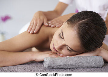 während, frau entspannung, massage