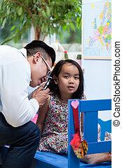 während, medizin, verabredung, asiatisch, kinderarzt