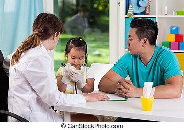 während, medizin, verabredung, asiatische familie