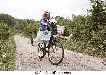während, reiten, fahrrad, verrücktheit