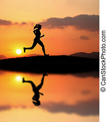 während, rennender , frau, sonnenuntergang