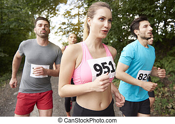 während, tief, atem, marathon