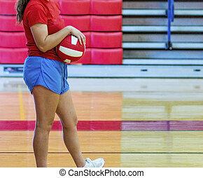 während, warten, innen, zustellen, volleyball