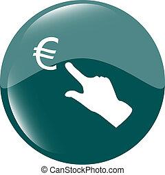 währung- austausch, heiligenbilder, euro, geld, zeichen, und, leute, hand