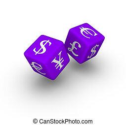 währung- austausch, spielwürfel