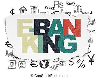 währung, concept:, e-bankwesen, auf, zerrissenen papier, hintergrund