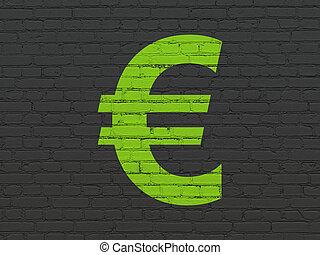 währung, concept:, euro, auf, wand, hintergrund