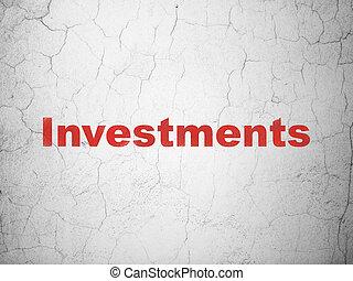 währung, concept:, investitionen, auf, wand, hintergrund