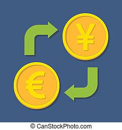 währung, exchange., euro, und, yen(yuan).