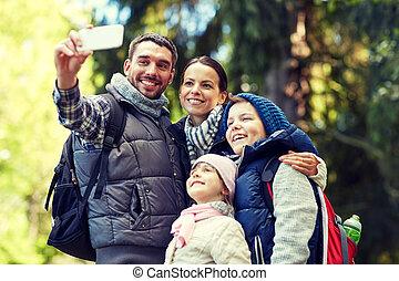 wälder, nehmen, smartphone, selfie, familie