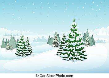 wälder, winter, schnee, kiefer, hintergrund, bäume, weihnachten, landschaftsbild, wald