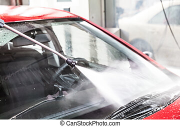 wäsche, rotes auto