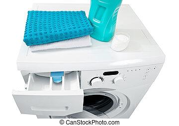 wäsche, washing., wäscherei, maschine, pulver