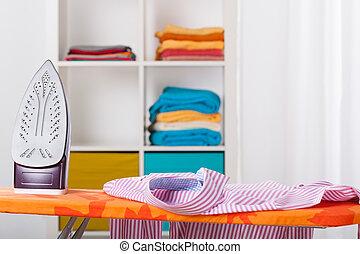 wäschebügeln, und, putzen, hause