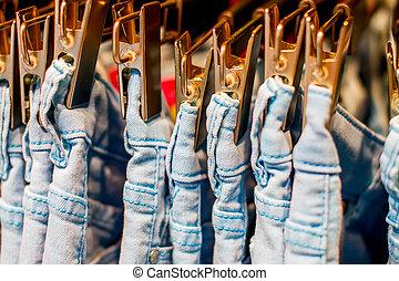 wäscheklammern, jeans, eisen, wandschrank, hängender