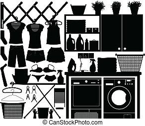 wäscherei, design, satz, vektor