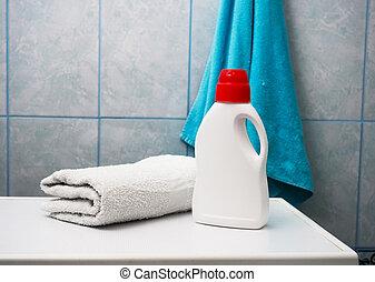 wäscherei, innen, text., flasche, maschine, wäsche, raum, tag, handtücher, sauber, reinigungsmittel