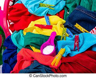 wäscherei, mehrfarbig, washing.
