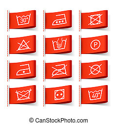 wäscherei, symbole, auf, kleidung, etiketten