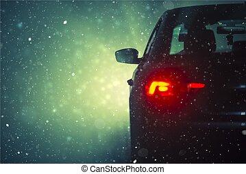 wóz, śnieg, napędowy