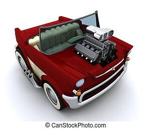wóz, 50\'s, supercharged, charicature, klasyk