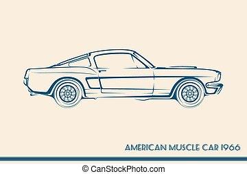 wóz, amerykanka, mięsień, sylwetka, 60ą