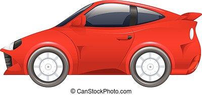 wóz, biały, biegi, czerwone tło