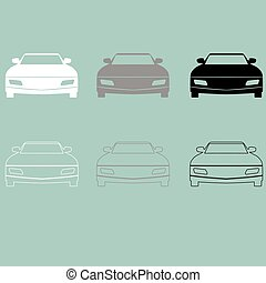 wóz, biały, czarnoskóry, szary, icon.