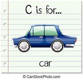 wóz, c, flashcard, alfabet