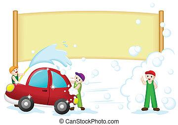 wóz, chorągiew, myjnia