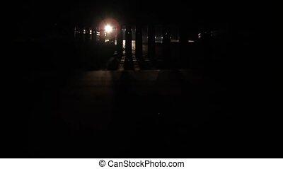 wóz, cień, noc, światła