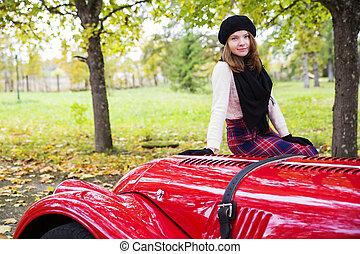 wóz, cowling, kobieta, poła, czerwony