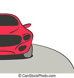 wóz, czerwone tło