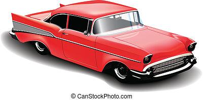 wóz, czerwony, sport