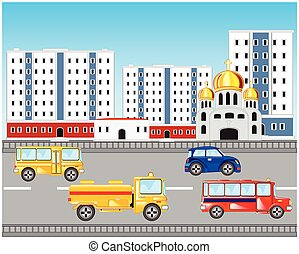 wóz, droga, miasto