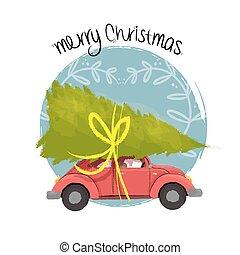 wóz, drzewo, ilustracja, retro, wesołe boże narodzenie
