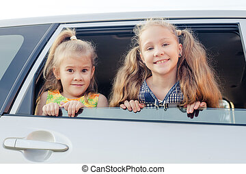 wóz, dzieciaki, dwa, szczęśliwy
