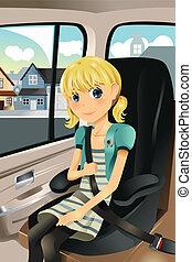 wóz, dziewczyna, miejsce