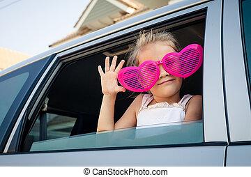 wóz, dziewczyna, okulary, cielna, posiedzenie