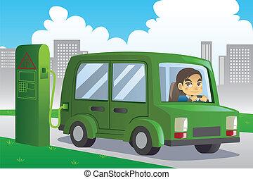 wóz, elektryczny, ładujący