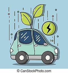 wóz, energia, ekologia, elektryczny, troska