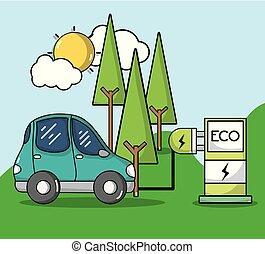 wóz, energia, stacja, elektryczny, recharge