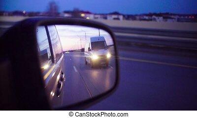 wóz, evening., ruchomy, lustro, tylny prospekt