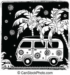 wóz, fason, stary, ilustracja