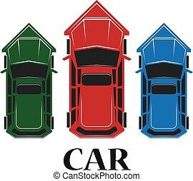 wóz, górny, ilustracja, wektor, ikona