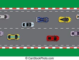 wóz, górny, ilustracja, wektor, tło, biegi, prospekt